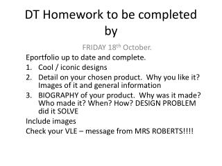 DT Homework to be completed by
