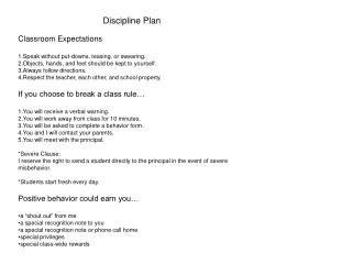 Discipline Plan Classroom  Expectations Speak without put-downs, teasing, or swearing.