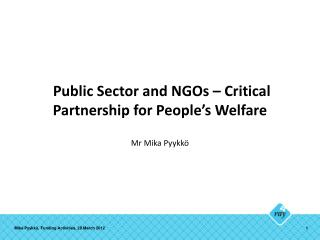 Public Sector and NGOs – Critical Partnership for People's Welfare