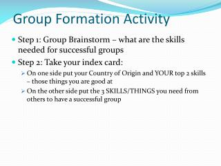 Group Formation Activity