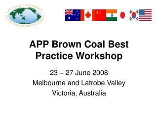 APP Brown Coal Best Practice Workshop