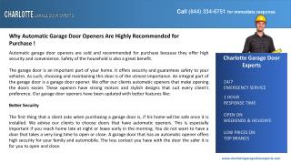 Why Automatic Garage Door Openers Are Highly Recommended for