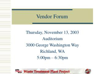 Vendor Forum