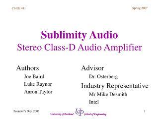Sublimity Audio Stereo Class-D Audio Amplifier