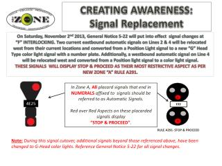 CREATING AWARENESS :  Signal Replacement