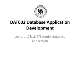 DAT602 Database Application Development