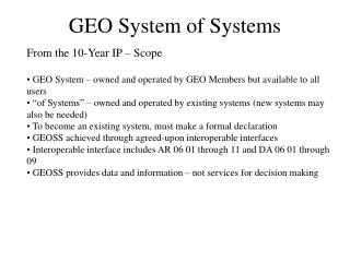 GEO System of Systems