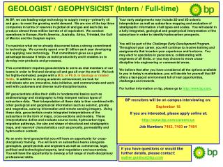 GEOLOGIST / GEOPHYSICIST (Intern / Full-time)