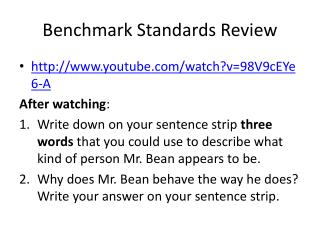 Benchmark Standards Review
