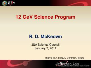 12  GeV  Science Program