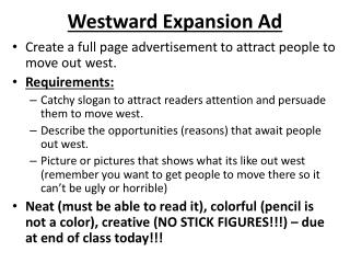 Westward Expansion Ad