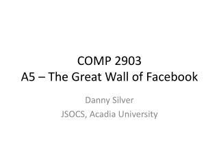 COMP 2903 A5 – The Great Wall of Facebook