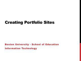 Creating Portfolio Sites