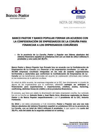 El Pastor y El Popular firman un acuerdo para fianaciar a l