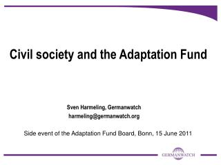 Civil society and the Adaptation Fund