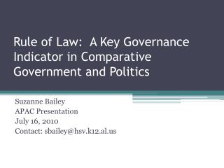 Rule of Law:  A Key Governance Indicator in Comparative Government and Politics