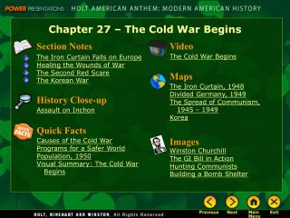 Chapter 27 � The Cold War Begins