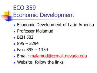 ECO 359  Economic Development
