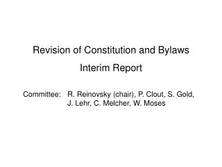 Revision of Constitution and Bylaws Interim Report