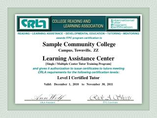 Sample Community College Campus, Townville,  ZZ Learning  Assistance Center