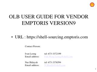 OLB USER GUIDE FOR  VENDOR   EMPTORIS  VERSION9