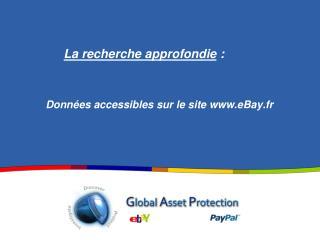 Données accessibles sur le site eBay.fr