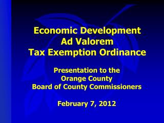 Economic Development  Ad Valorem  Tax Exemption Ordinance