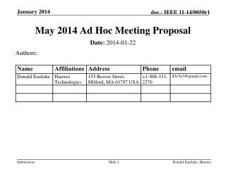 May 2014 Ad Hoc Meeting Proposal