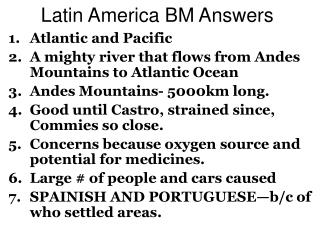 Latin America BM Answers