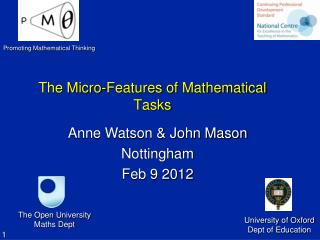 The Micro-Features of Mathematical Tasks
