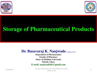 Storage of Pharmaceutical Products