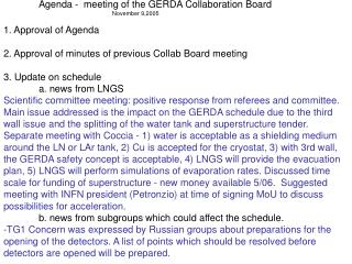 Agenda -  meeting of the GERDA Collaboration Board
