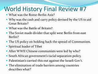 World  History Final Review  #7