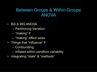 Between Groups & Within-Groups ANOVA