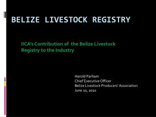 Belize Livestock Registry