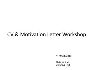 CV & Motivation Letter Workshop