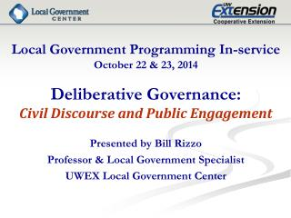 Local Government Programming In-service October 22 & 23, 2014