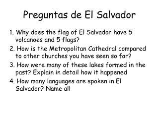 Preguntas de El Salvador