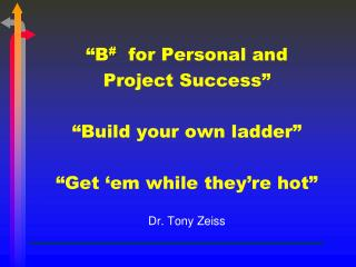"""B #  for Personal and Project Success"" ""Build your own ladder"" ""Get ' em  while they're hot"""