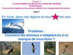 Chapitre 3  LE PEUPLEMENT DU MILIEU AU COURS DES SAISONS  Probl matique  :  Comment les v g taux et les animaux r sisten