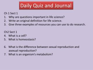 Daily Quiz and Journal