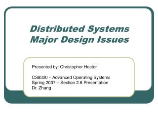 Distributed Systems Major Design Issues