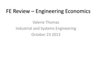 FE Review – Engineering Economics