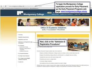 "Next, click on the ""Admission & Registration Procedures"""