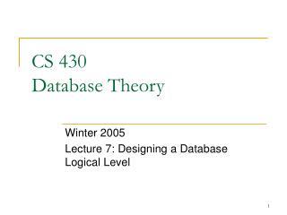 CS 430 Database Theory