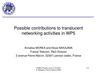Possible contributions to translucent networking activities in WP5