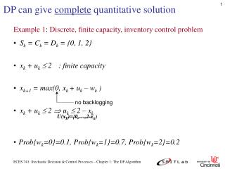 DP can give  complete  quantitative solution