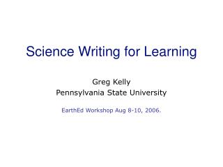 Science Writing for Learning