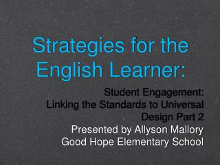 Strategies for the English Learner: