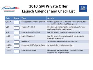 2010 GM Private Offer Launch Calendar and Check List